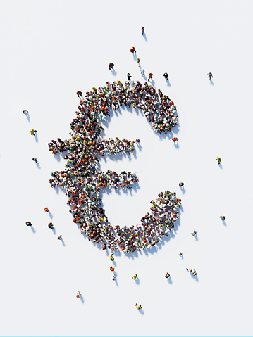 Human crowd forming a big Euro symbol on white background. Vertical composition with copy space. Clipping path is included. Euro and Crowdfunding Concept