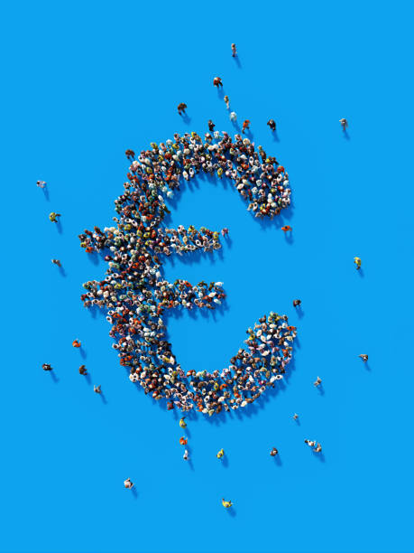 Human Crowd Forming A Euro Symbol: Euro and Crowdfunding Concept stock photo