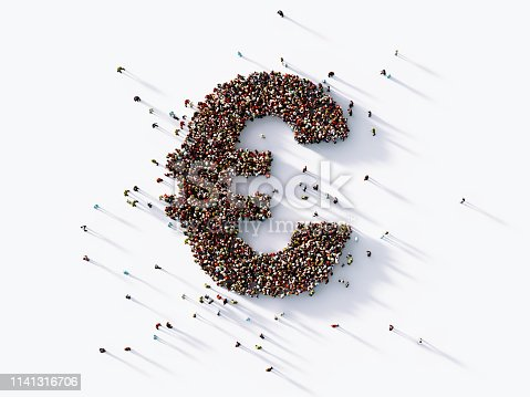 Human crowd forming a Euro currency symbol on white background. Horizontal  composition with copy space. Clipping path is included.