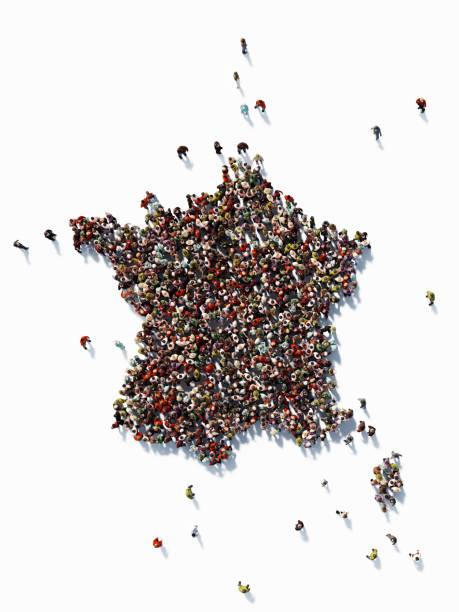 形成法國地圖的人類人群: 人口與社會媒體概念 - 法國 個照片及圖片檔