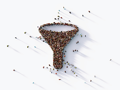 Human crowd forming a funnel symbol on white background. Horizontal  composition with copy space. Clipping path is included. Marketing concept.