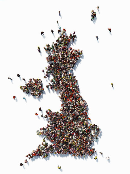Human Crowd Forming A Great Britain Map: Population And Social Media Concept - foto stock