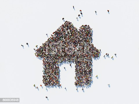 Human crowd forming a big house on white background. Horizontal composition with copy space. Clipping path is included. Real Estate and Crowdfunding Concept