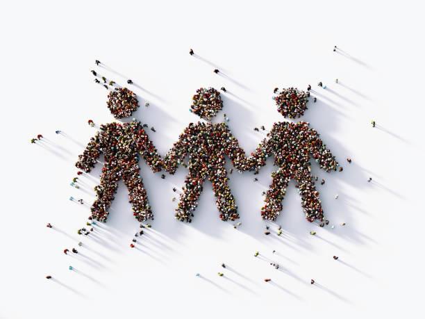 human crowd forming a human link symbol: bonding and social media concept - anello catena foto e immagini stock
