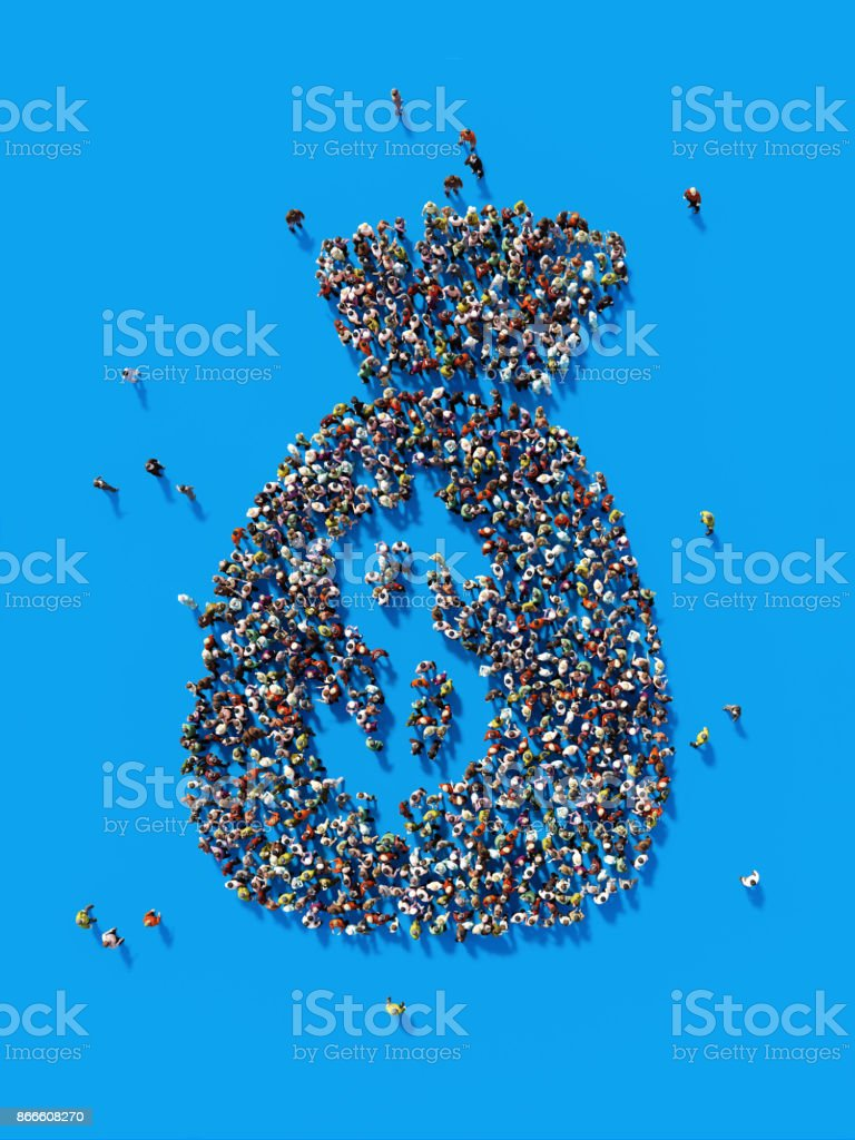 Human Crowd Forming A Money Pouch Symbol: Saving and Crowdfunding Concept stock photo