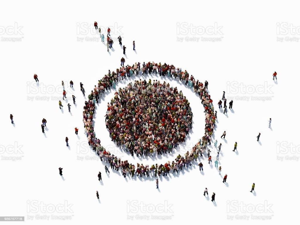 Human Crowd Forming A Target Symbol: Target Market Concept stock photo