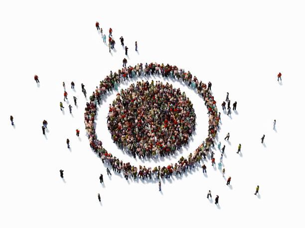 人類群體形成目標符號: 目標市場理念 - 瞄準 個照片及圖片檔