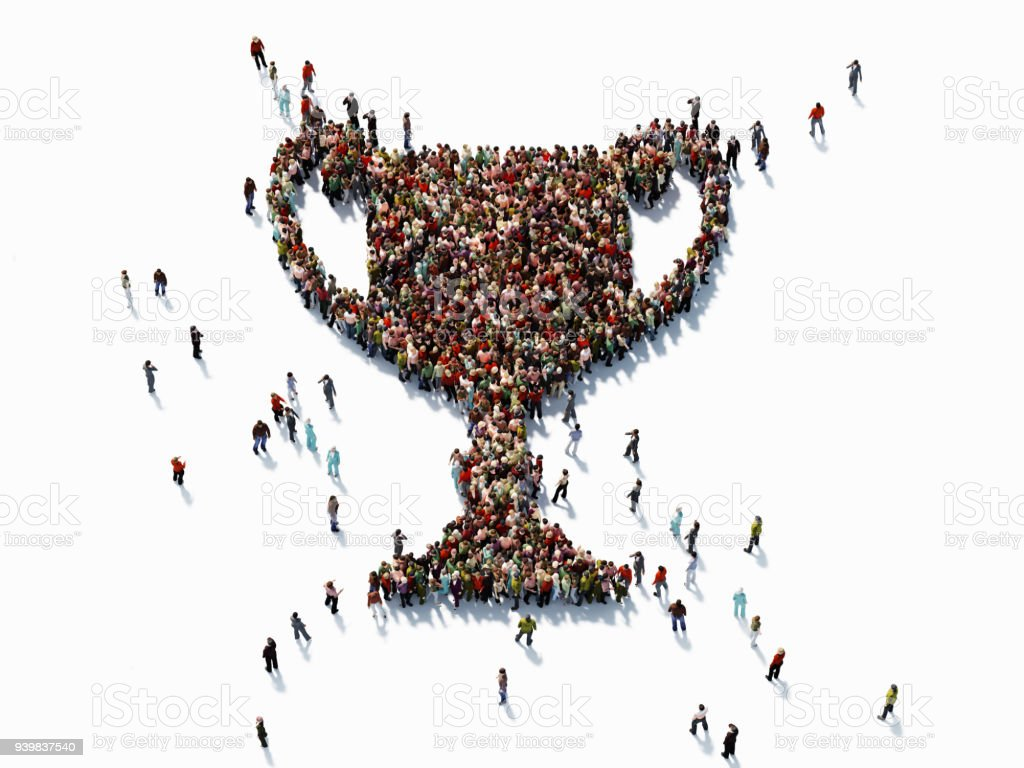 Human Crowd Forming A Trophy Shape - Success Concept stock photo
