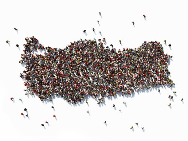 Human Crowd Forming A Turkey Map: Population And Social Media Concept Human crowd forming a big Turkey map on white background. Horizontal composition with copy space. Clipping path is included. Population and Social Media concept. turkish stock pictures, royalty-free photos & images