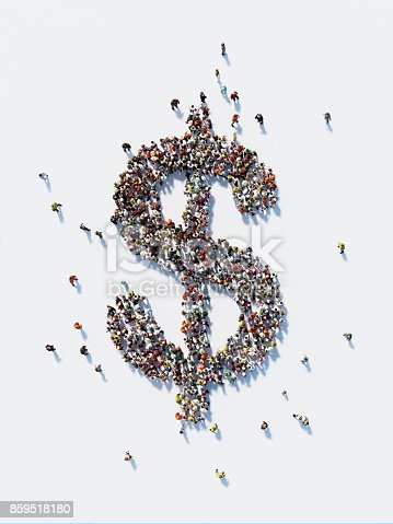 Human crowd forming a big US Dollar sign on white background. Vertical composition with copy space. Clipping path is included. US Dollar and Crowdfunding Concept