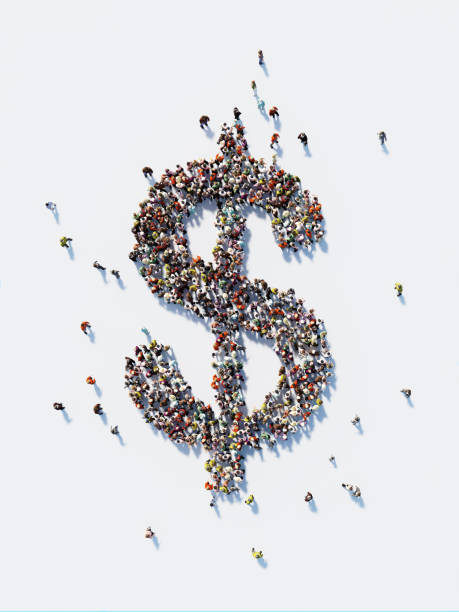 human crowd forming a us dollar sign: us dollar and crowdfunding concept - dollar sign stock photos and pictures