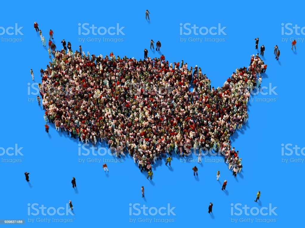 人類人群形成美國地圖: 人口與社會媒體概念圖像檔