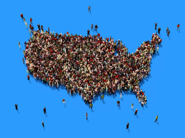 Human Crowd Forming A USA Map: Population And Social Media Concept stock photo