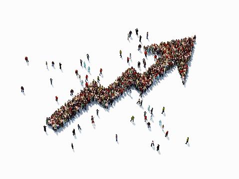 istock Human Crowd Forming An Arrow Shape Map: Finance Concept 943910534