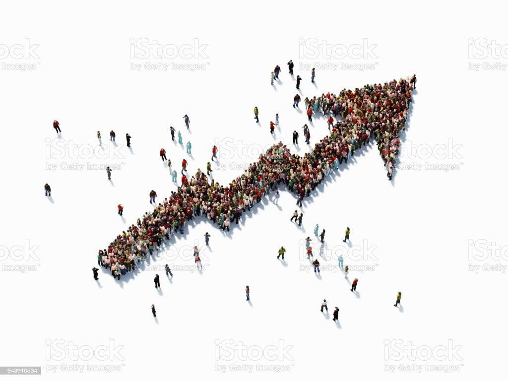 Human Crowd Forming An Arrow Shape Map: Finance Concept stock photo