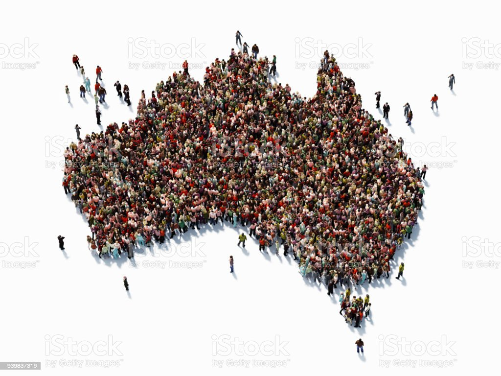 Human Crowd Forming An Australian Map: Population And Social Media Concept stock photo