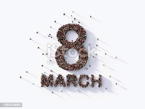 Human crowd forming a big eight march text on white background. Horizontal composition with copy space. Clipping path is included. International Women's Day concept.