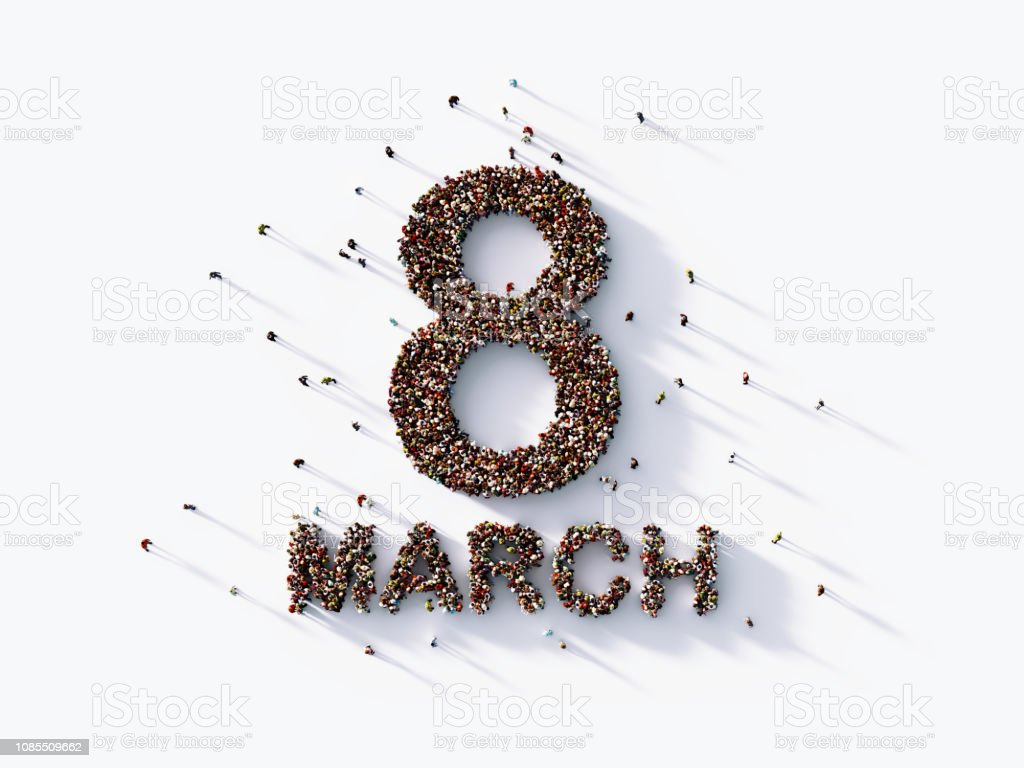 Human Crowd Forming An Eight March On White Background : International Women's Day Concept stock photo
