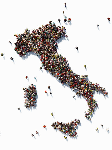 human crowd forming an italy map: population and social media concept - cartina italia foto e immagini stock