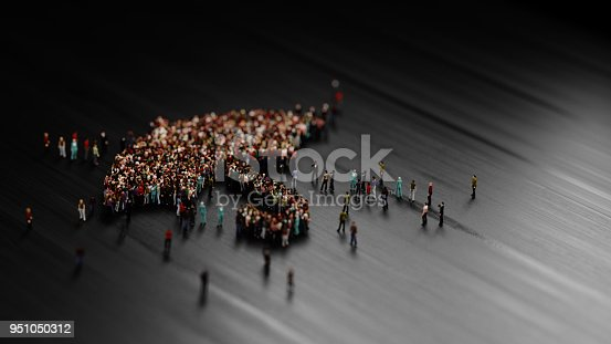 Human crowd forming an umbrella symbol on white background. Horizontal  composition with selectıve focus and copy space. Insurance concept.
