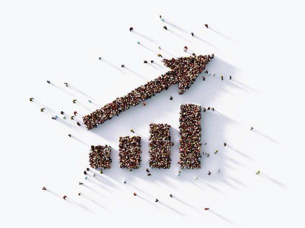 human crowd forming bar graph and arrow : finance concept - people icon foto e immagini stock