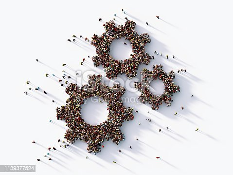 Human crowd forming gear symbols on white background. Horizontal  composition with copy space. Clipping path is included. Hierarchy concept.