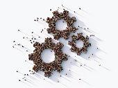 istock Human Crowd Forming  Gear Symbols : Hierarchy Concept 1139377524