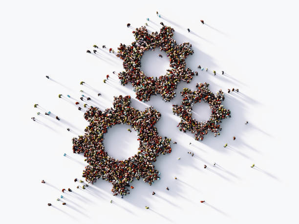 human crowd forming  gear symbols : hierarchy concept - together imagens e fotografias de stock