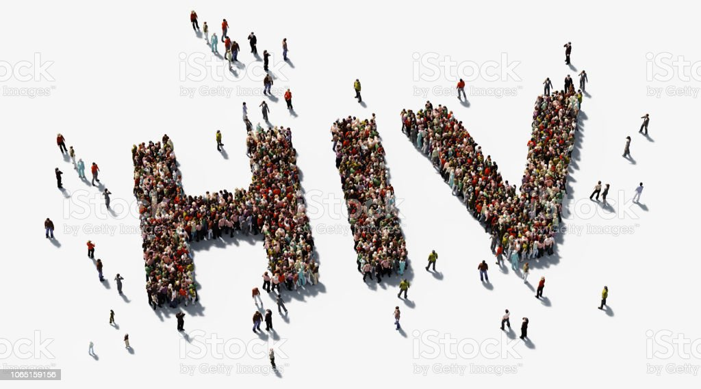 Human Crowd Forming HIV Text On White Background - HIV Awareness Concept - Royalty-free AIDS Stock Photo