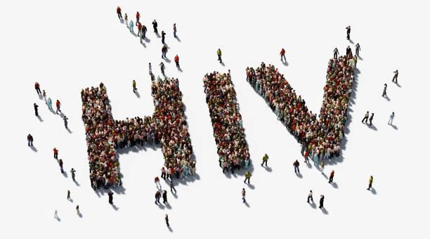menschliche masse bilden hiv text auf weißem hintergrund - hiv-awareness-konzept - hiv stock-fotos und bilder