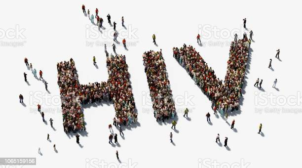 Human Crowd Forming Hiv Text On White Background Hiv Awareness Concept Stock Photo - Download Image Now