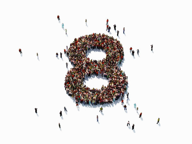 human crowd forming number eight - number 8 stock pictures, royalty-free photos & images