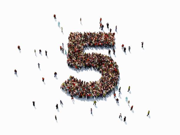 human crowd forming number five - numero 5 foto e immagini stock