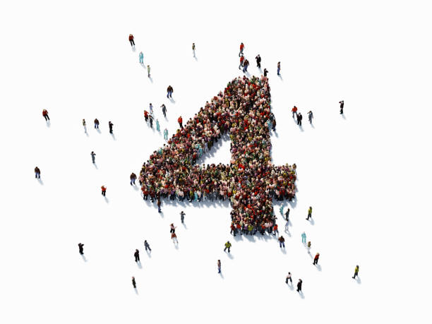 Human Crowd Forming Number Four Human crowd forming a big number four on white background. Horizontal  composition with copy space. Clipping path is included. Success concept. number 4 stock pictures, royalty-free photos & images