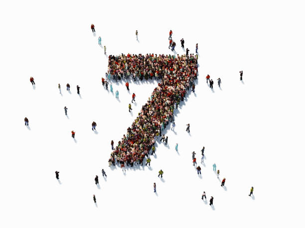 Human Crowd Forming Number Seven Human crowd forming a big number seven on white background. Horizontal  composition with copy space. Clipping path is included. Success concept. number 7 stock pictures, royalty-free photos & images
