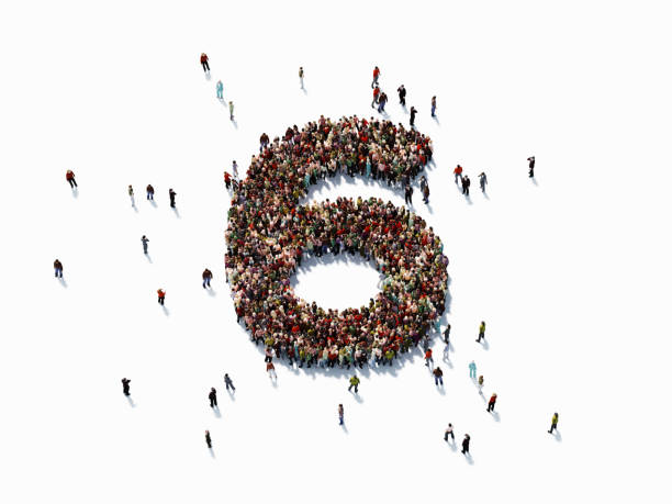 human crowd forming number six - number 6 stock photos and pictures