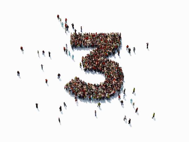 human crowd forming number three: success concept - terceira imagens e fotografias de stock