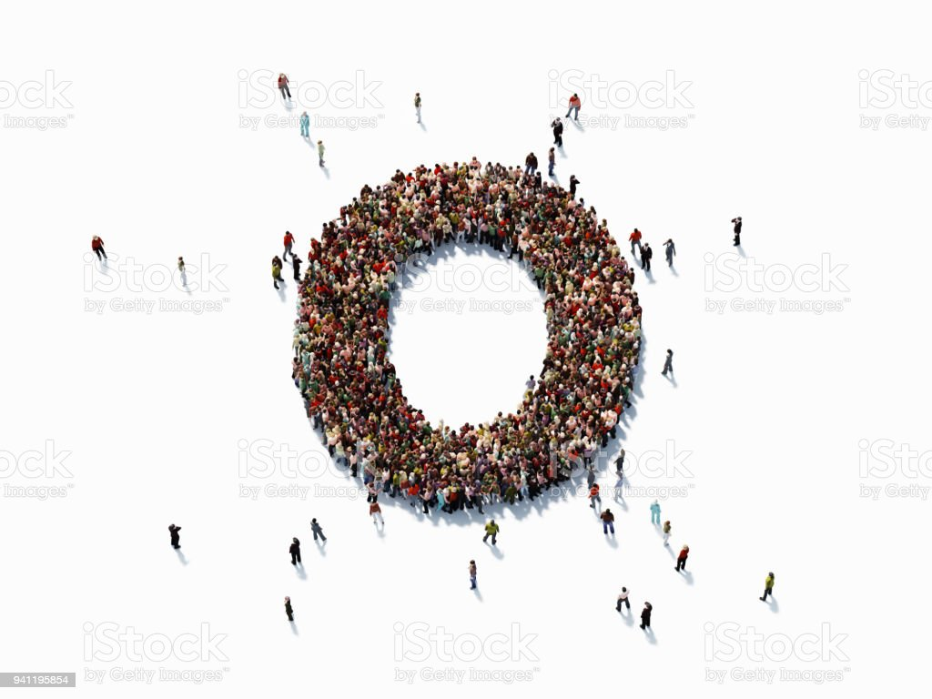 Human Crowd Forming Number Zero stock photo