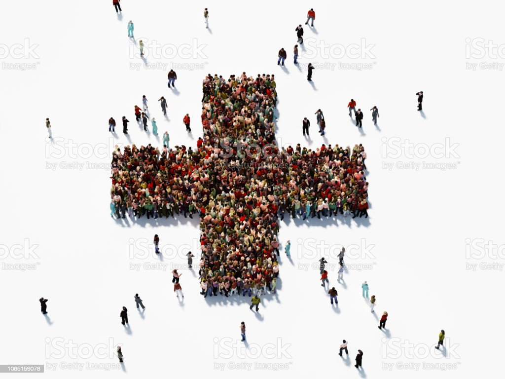 Human Crowd Forming Plus Sign stock photo