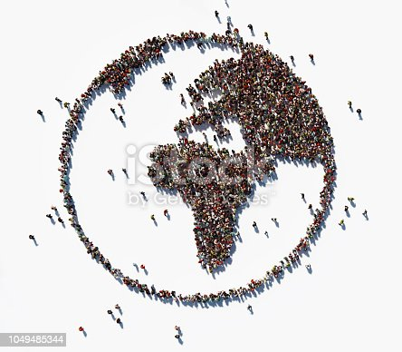 Human crowd forming world symbol on white background. Horizontal  composition with copy space. Clipping path is included. Population and Social Media concept.