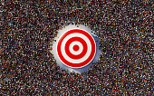 istock Human Crowd Gathering Around A Red Bulls Eye: Marketing and Target Audience Concept 1281966263