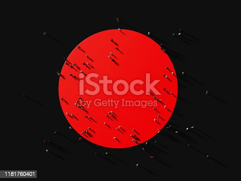 istock Human Crowd Gathering Around A Red Circle: Marketing and Target Audience Concept 1181760401