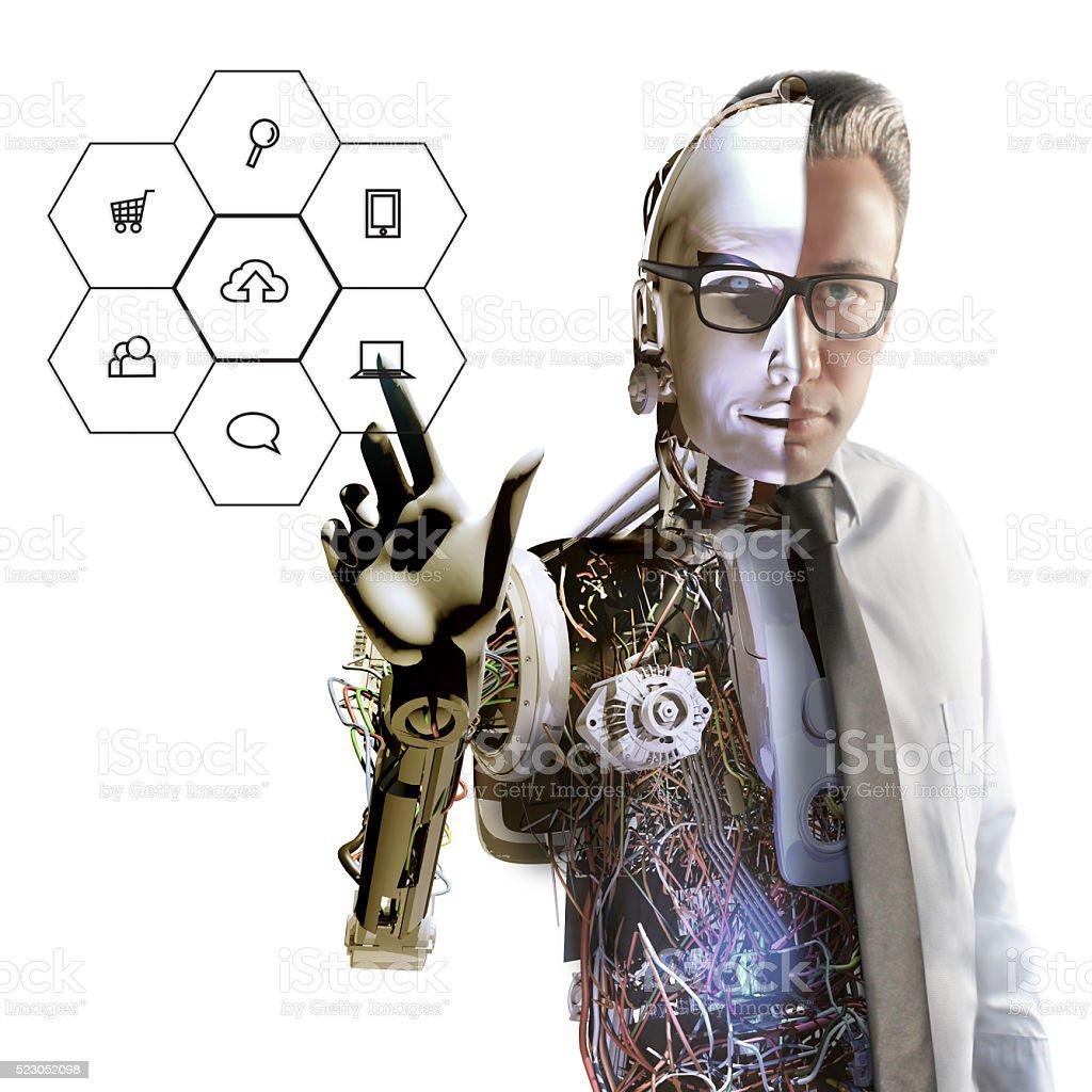Human Cyborg and Interface stock photo