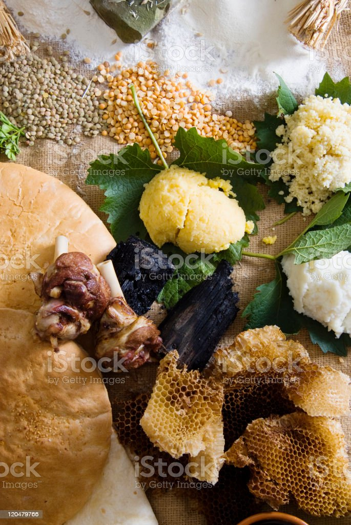 Human diet in the Stone Age stock photo