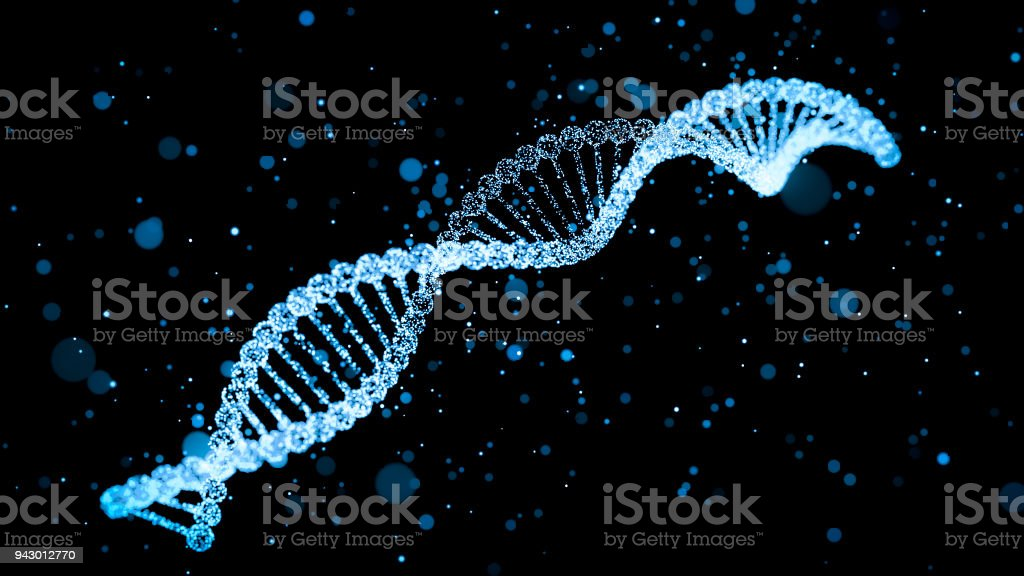 human dna with glowing particles 3d illustration stock photo