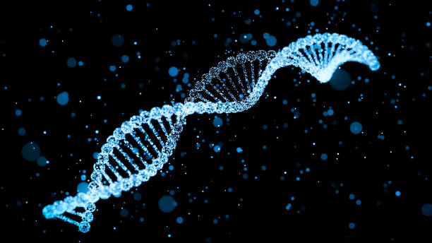 human dna with glowing particles 3d illustration - rna foto e immagini stock