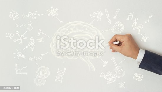 istock human drawing, creative brain idea concept, sciences and arts on white wall background 695372168
