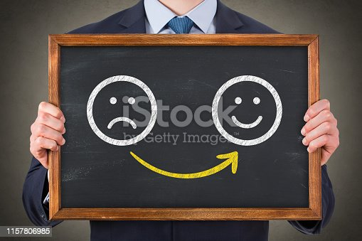 istock Human Drawing Unhappy and Happy on Blackboard 1157806985