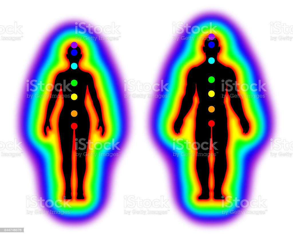 Human energy body - aura and chakras on white background stock photo