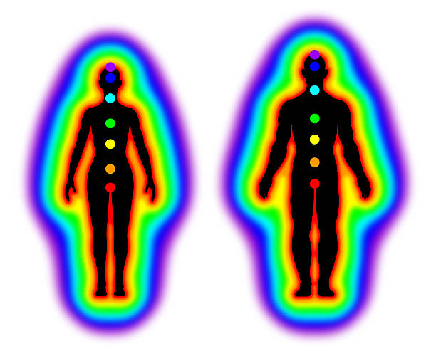 human energy body - aura and chakras on white background - aura stock photos and pictures